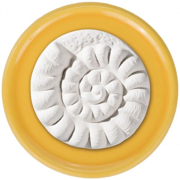 Duftstein Ammonit mit gelbem Unterteller
