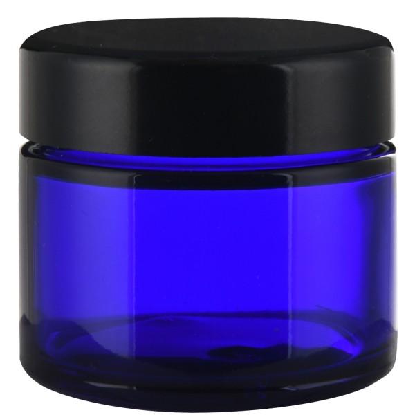 Glastiegel, 50 ml, Blauglas mit schwarzem Schraubverschluss