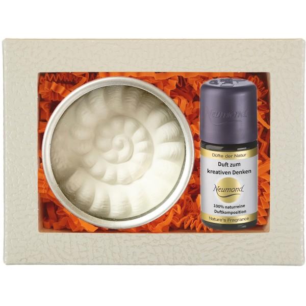 Neumond Duftset Duft zum kreativen Denken mit Ammonit Duftkeramik