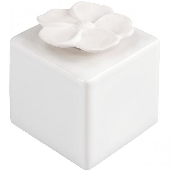 Duftkeramik Kubus weiß mit Blüte
