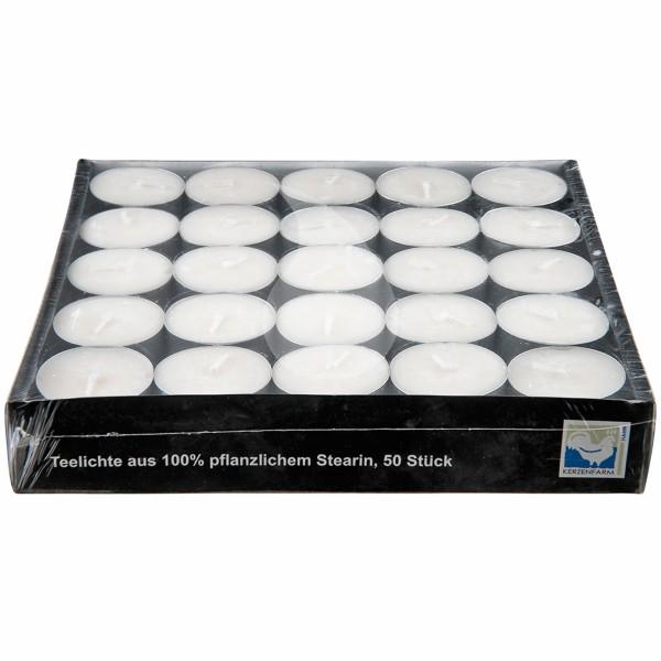Teelichte, 50 Stück aus 100% pflanzlichem Stearin