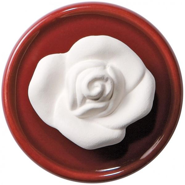 Duftstein Rose mit rotem Unterteller